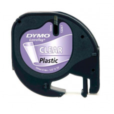 DYMO LetraTag PlastikLint 12mm x 4m / must läbipaistval  (S0721540)