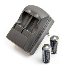 Akumulator CR123A, DL123A 2szt. + ładowarka
