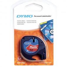 DYMO LetraTag PlastikLint 12mm x 4m / must punasel (S0721580)
