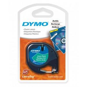 DYMO LetraTag PlastikLint 12mm x 4m / must rohelisel (S0721590)