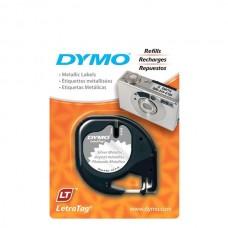 DYMO LetraTag PlastikLint 12mm x 4m / black on metallic (S0721710)