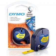 DYMO LetraTag PlastikLint 12mm x 4m / must kollasel (S0721570)
