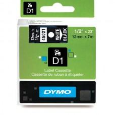 DYMO D1 Lint 12mm x 7m / valge mustaga (45021 / S0720610)