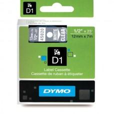 DYMO D1 Lint 12mm x 7m / valge läbipaistval (45020 / S0720600)