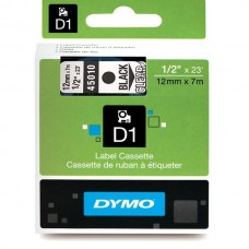 DYMO D1 Lint 12mm x 7m / must läbipaistval (45010 / S0720500)