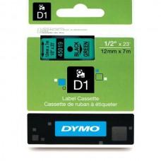 DYMO D1 Lint 12mm x 7m / must rohelisel (45019 / S0720590)