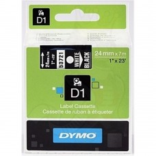 DYMO D1 Lint 24mm x 7m / valge mustaga (53721 / S0721010)