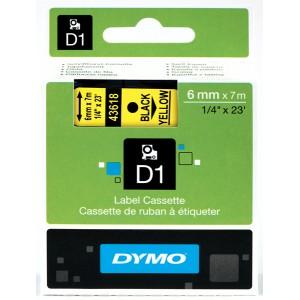 DYMO D1 Lint 6mm x 7m / must kollasel (43618 / S0720790)