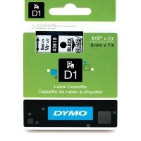 DYMO D1 Lint 6mm x 7m / must läbipaistval (43610 / S0720770)